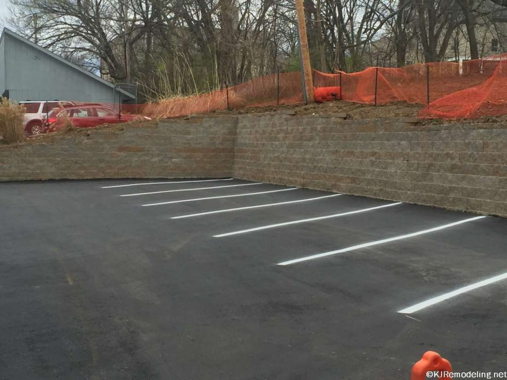 Parking lot retaining wall