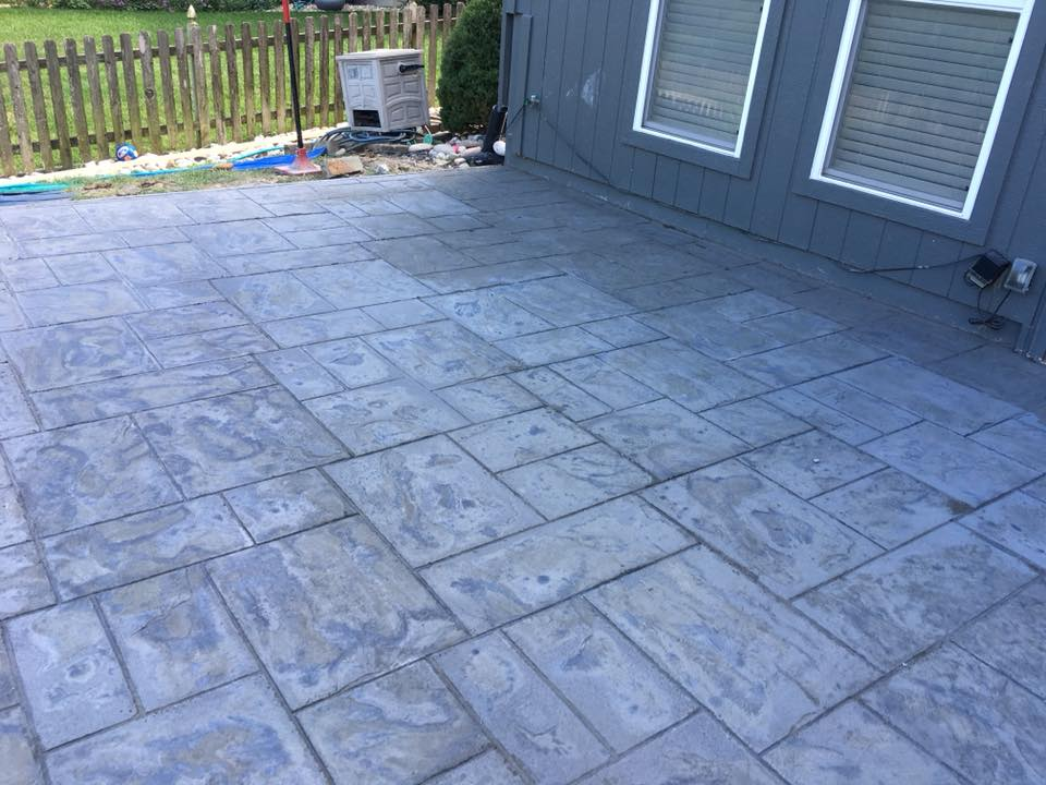 Custom concrete stamped patio